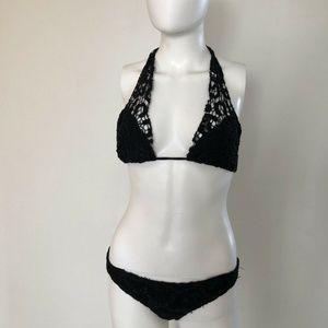ALEXIS Black Crochet Halter Top Bikini